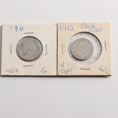 "1911 and 1912 Liberty Head ""V"" Nickels"