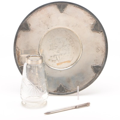 Knickerbocker Silver Co. Art Deco Silver Plate Platter with Pegasys Pen and Jar