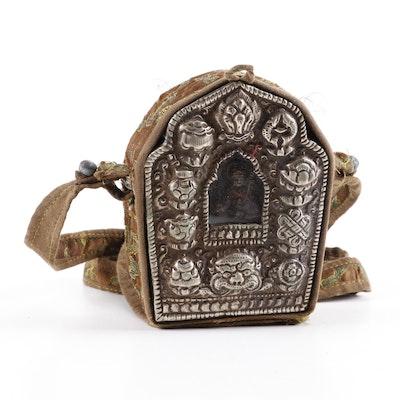Tibetan Buddhist Metal Alloy Gau Travel Shrine with Fabric Bag