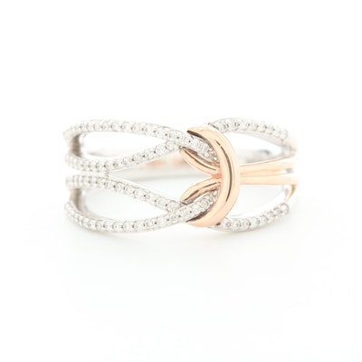 14K White and Rose Gold Diamond Love Knot Ring