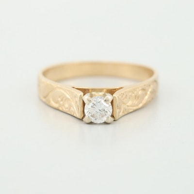 14K Yellow Gold Diamond Solitaire Ring with Scroll Motif