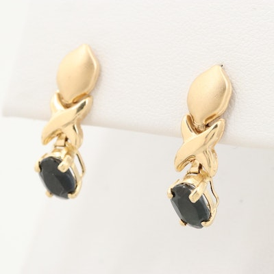 14K Yellow Gold Sapphire Dangle Earrings