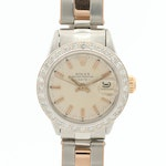Vintage Rolex Date 18K Rose Gold and Stainless Steel Diamond Bezel Watch, 1969
