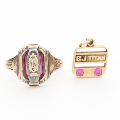 10K Yellow Gold Ruby and Enamel Class Ring and Service Pendant