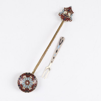 Russian Gilt and Enamel Spoon and 800 Silver Olive Fork, Early 20th Century