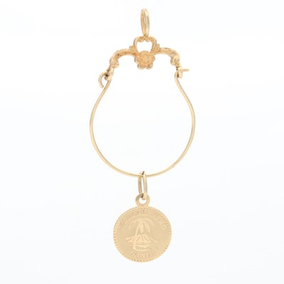 14K Yellow Gold Charm Holder Pendant with Hawaii Charm