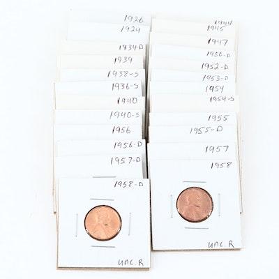 Twenty-Four Lincoln Wheat Cents