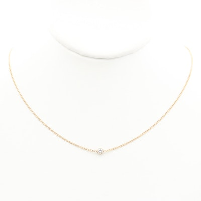 14K Yellow Gold Diamond Solitaire Necklace