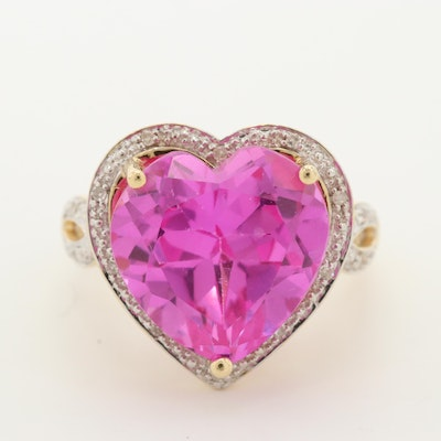 14K Yellow Gold Pink Sapphire and Diamond Heart Ring