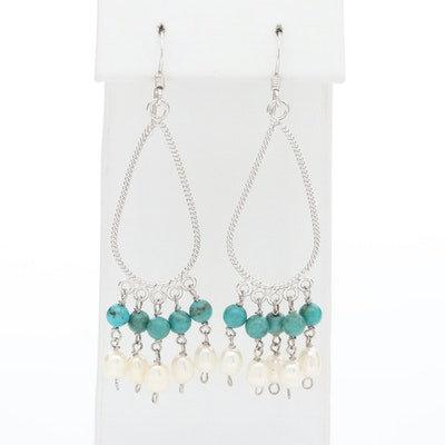 Sterling Silver Cultured Pearl and Turquoise Dangle Earrings