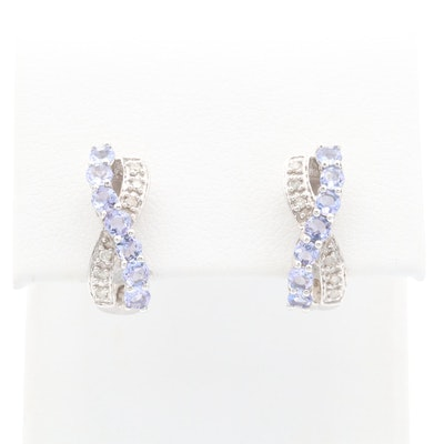 10K and 14K White Gold Tanzanite and Diamond Earrings