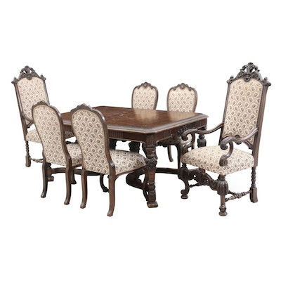 Italian Renaissance Style Walnut Dining Set, Early 20th Century