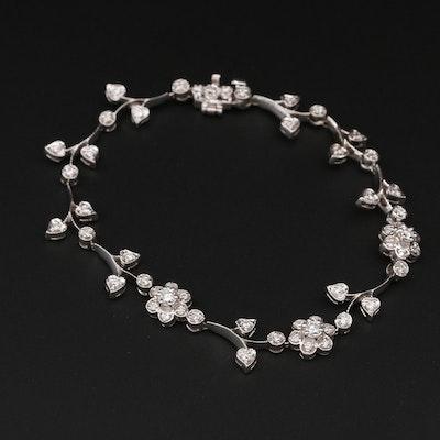 14K White Gold Diamond Floral Motif Bracelet