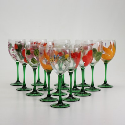 Hand-Painted Floral Wine Glasses
