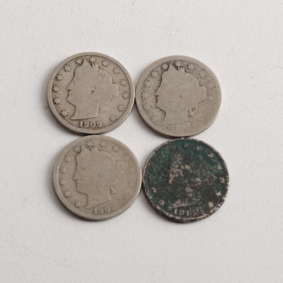 Four Liberty Head Nickels