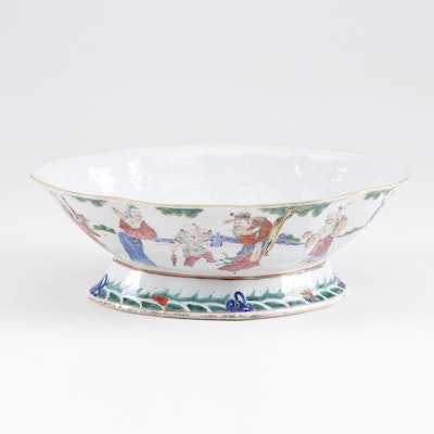 Chinese Porcelain Footed Compote with Figural Scenes, Mid to Late 19th Century