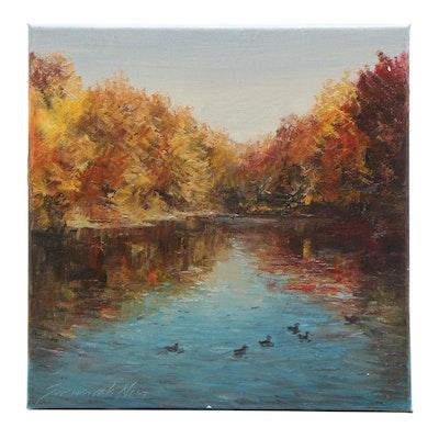 "Garncarek Aleksander Oil Painting ""Kaczki Na Wodzie"""