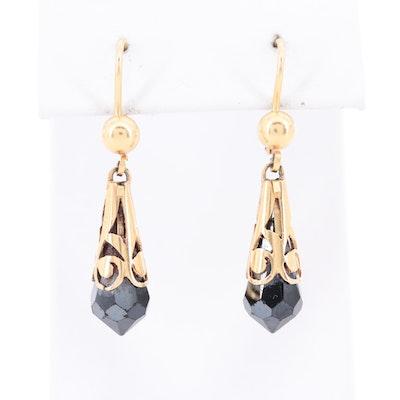 18K Yellow Gold Black Cubic Zirconia Dangle Earrings