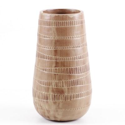 Louise Williams Thrown Stoneware Art Pottery Vase, 1955