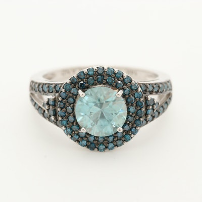 14K White Gold Topaz Ring with Blue Diamond Halo