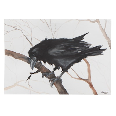 Angor Watercolor Painting of Crow