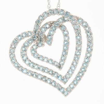 10K White Gold Topaz Heart Necklace