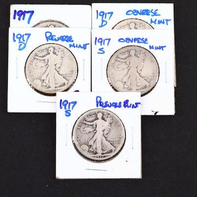 1917 Walking Liberty Silver Half Dollars