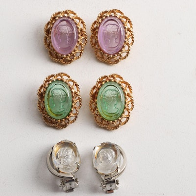 Cameo Brooches and Clip on Earrings