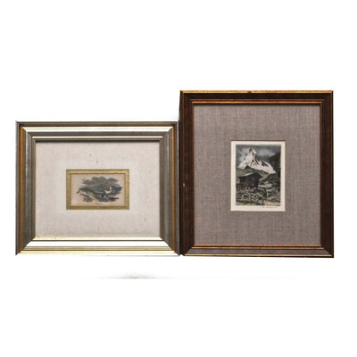 Antique Landscape Etchings Including Rudolf Veit