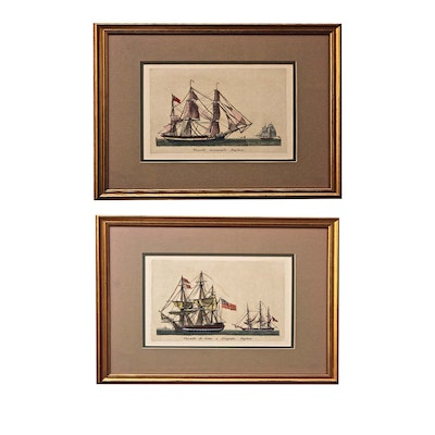 Antique Hand Colored Sailboat Etchings