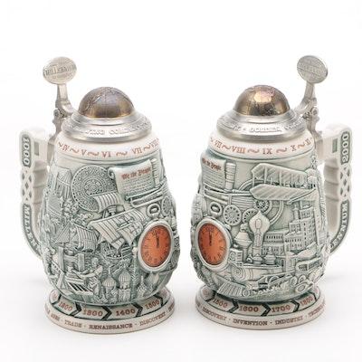 Ceramarte for Coors Millennium Series Ceramic Beer Steins