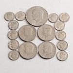 1972 Eisenhower Dollar, 1972 Kennedy Half Dollars, Roosevelt Dimes
