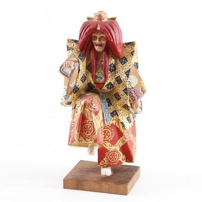 Japanese Hand Carved and Painted Wood Kabuki Figurine, Vintage