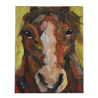 Elle Raines Acrylic Painting of a Horse