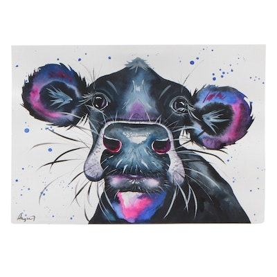 Angor Watercolor Painting of Cow Portrait