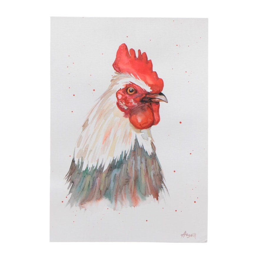 Angor Watercolor Painting of Rooster Portrait