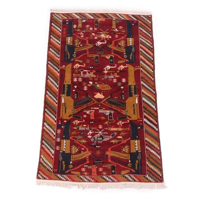 """Hand-Knotted Afghan Pictorial """"War"""" Wool Rug"""