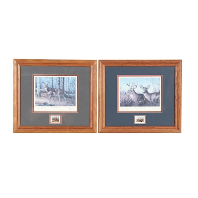 Pair of Offset Lithographs of Deer with Commemorative Stamps