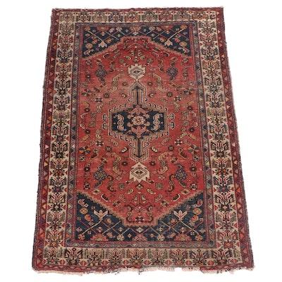 Hand-Knotted Persian Khamseh Wool Rug, circa 1930