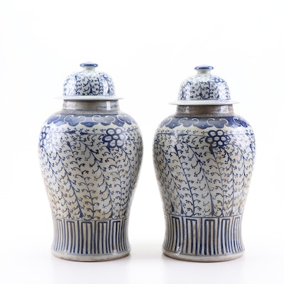 Chinese Hand-Painted Canton Earthenware Ginger Jars