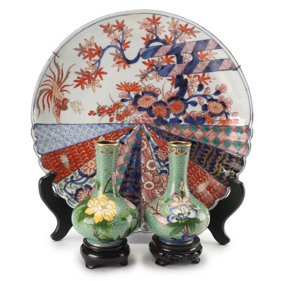 Japanese Meiji Porcelain Imari Plate with Chinese Cloisonné Vases