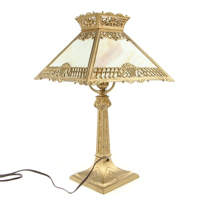 Slag Glass and Painted Spelter Table Lamp, 1930s