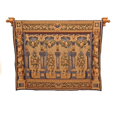 "Craye French ""Colonne"" Machine Woven and Hand-Finished Wall Hanging"