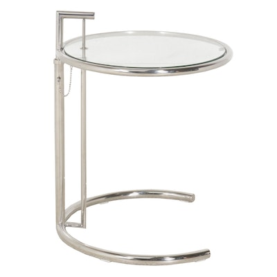 Eileen Gray-Style Chrome Side Table