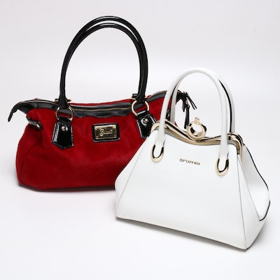 Cromia White Leather Satchel and Cavalcanti Dyed Red Calf Hair Tote Bag