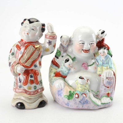 Chinese Laughing Buddha with Children and Young Boy Figurines
