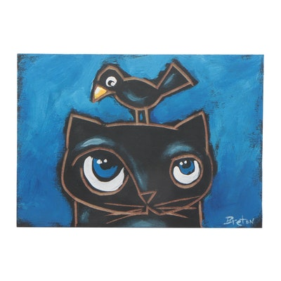 "Claude C. Breton Woodcut Acrylic Painting ""Cat and Crow"""
