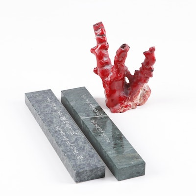 Chinese Inscribed Stone Scroll Weights and Cinnabar Coral Sculpture