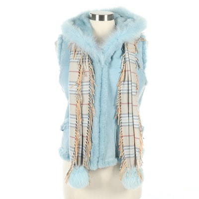 Mitchie's Blue Sheepskin Shearling Vest and Scarf with Rabbit Fur Pom-Poms