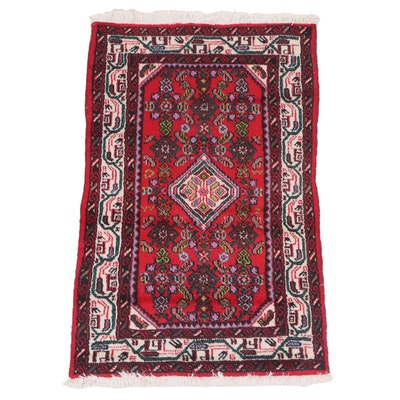 Hand-Knotted Persian Everu Wool Accent Rug